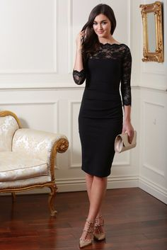 Bethany Black Fitted Midi Lace Dress