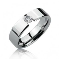Modern Tension Set CZ Tungsten Mens Engagement Ring 8mm, $329.98