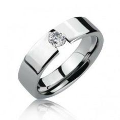 Modern Tension Set CZ Tungsten Mens Engagement Ring 8mm, $329.98