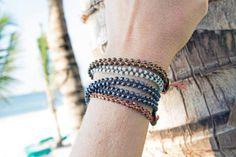 braided bracelets stacked