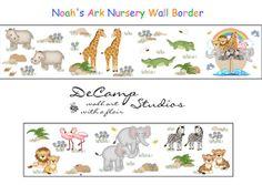 Noah's Ark Wallpaper Border Wall Art Decals for baby nursery or kids room decor #decampstudios