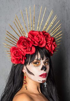 Day of the dead headpieces Costume Halloween, Halloween 2019, Halloween Outfits, Halloween Make Up, Halloween Crafts, Cool Costumes, Vintage Halloween, Costume Ideas, Halloween Face Makeup