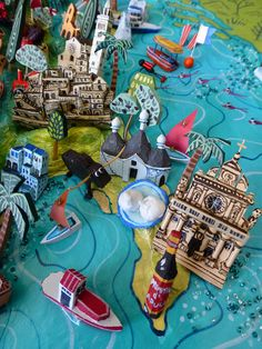 Sara Drake - Puglia and Basilicata detail from a large 3D illustrated map of Italy - papier mache, acrylic paint, balsa wood and mixed media. 2014