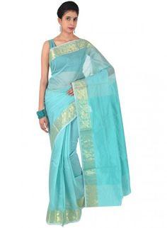 Turquoise Art Silk Saree