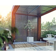 H x 4 ft. W Arrow Decorative Privacy Screen Veradek 2 ft. H x 4 ft. W Arrow Decorative Privacy Screen Patio Privacy Screen, Privacy Screen Outdoor, Privacy Walls, Privacy Wall On Deck, Pergola Screens, Privacy Fence Designs, Patio Awnings, Backyard Patio Designs, Backyard Landscaping