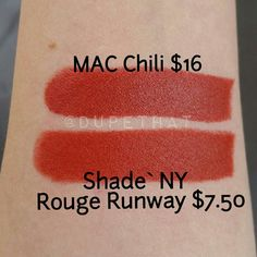 """""""This dupe got us excited because MAC Chili is the prettiest burnt orange red color . @shadenycosmetics is a tad brighter but does this dupe remind…"""""""