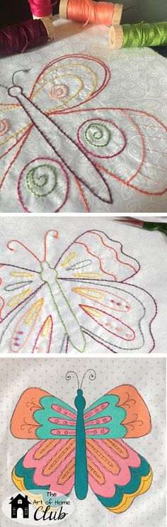 Butterfly Embroidery Sew Along with The Art of Home Club, video for fabric painting included! | JacquelynneSteves.com  #embroidery #quilt #fabricpainting