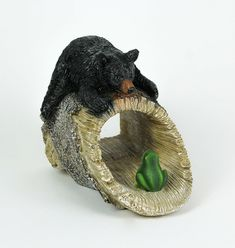Playful Black Bear and Frog Decorative Gutter Downspout Extension | eBay Gutter Downspout Extension, Bear Statue, Bear Decor, Protecting Your Home, Gnome Garden, Garden Statues, Black Bear, Outdoor Decor, Foundation