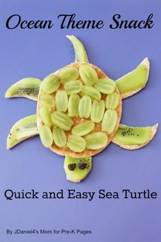Ocean themed sea turtle snack that is healthy and easy to make. Your preschoolers will enjoy making and eating this healthy snack! Ocean Theme Snacks, Ocean Themed Food, Ocean Food, Ocean Themes, Preschool Cooking, Healthy Preschool Snacks, Kid Snacks, Fruit Snacks, Party Snacks