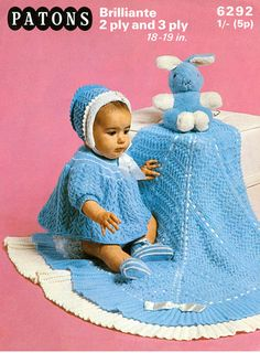 Items similar to PDF Vintage Baby Knitting Pattern BLUE Layette Dress Blanket Shawl Patons 6292 Lace Yoke Matinee Bonnet Heirloom Pretty on Etsy Kids Knitting Patterns, Knitting For Kids, Baby Patterns, Hand Knitting, Crochet Patterns, Vintage Baby Clothes, Vintage Kids, Crochet Baby, Knitted Baby