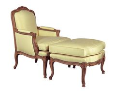 Louis J Solomon Louis XV Bergere & Ottoman Traditional Styles, Solomon, Vanity Bench, Accent Chairs, Ottoman, Furniture, Home Decor, Upholstered Chairs, Decoration Home
