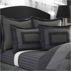 SQUARE BLACK GRAY COMFORTER SHAM BEDSKIRT Set  FULL