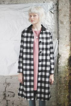 Long Check Coat by Whitepepper