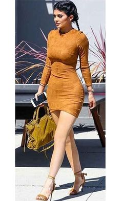 Talent and Skill Brown Faux Suede Long Sleeve Wrap Front Crew Neck Bodycon Mini Dress - Inspired by Kylie Jenner Kylie Jenner Outfits, Kylie Jenner Mode, Trajes Kylie Jenner, Jenner Girls, Tight Dresses, Sexy Dresses, Girl Fashion, Fashion Outfits, Style Fashion