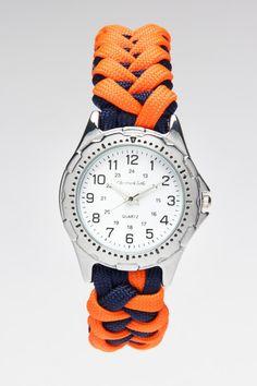 Orange/blue para-cord watch.