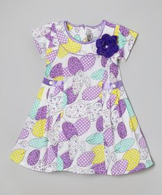 Look at this #zulilyfind! Purple Polka Dot Leaf Pleated Dress - Infant, Toddler & Girls by Roberto Toscani #zulilyfinds