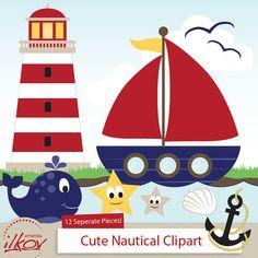 Professional Cute Nautical Clipart for Digital Scrapbooking, Crafting, Invitations, Web Design and More - Cute Sailboat by Amanda Ilkov