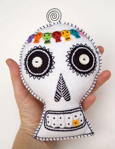 Day of the Dead Sugar Skull Plush Wall Art, colorful hand embroidered via RawBoneStudio
