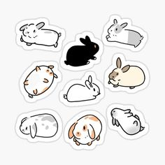 """Bunny Rabbit Stickers"" by Brushes n Bunnies Anime Stickers, Kawaii Stickers, Cool Stickers, Printable Stickers, Journal Stickers, Planner Stickers, Kawaii Drawings, Cute Drawings, Homemade Stickers"