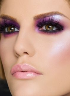 light pale pink lips with purple and pink eyeshadow - lovely long lashes