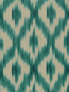 Turquoise Linen Ikat Fabric  Upholstery Weight par PopDecorFabrics