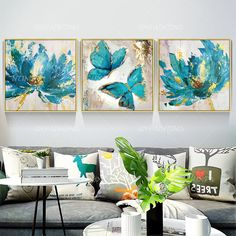 Set of 3 wall art abstract floral Butterfly blue art framed Paintings On Canvas Gold art heavy textured Wall Pictures cuadros abstractos Bird Paintings On Canvas, Christmas Paintings On Canvas, Painting Frames, Painting Prints, Original Paintings, Acrylic Paintings, 3 Piece Painting, 3 Piece Wall Art, Framed Wall Art