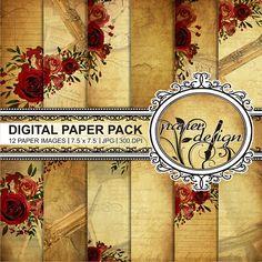Romantic Roses digital paper shabby Scrapbook