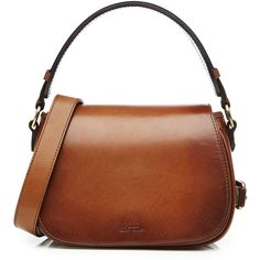 Polo Ralph Lauren Leather Saddle Bag ($405) ❤ liked on Polyvore featuring bags, handbags, shoulder bags, leather purses, brown leather purse, genuine leather shoulder bag, genuine leather purse and top handle handbags