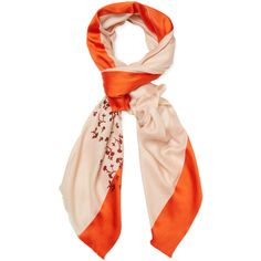 """Dior Women's Floral Silk & Cashmere Long Scarf, 78"""" x 39"""" - Orange ($999) ❤ liked on Polyvore featuring accessories, scarves, orange, cashmere shawl, oblong scarves, patterned scarves, floral shawl and floral print scarves"""