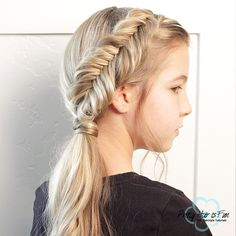 Dutch Fishtail Braid & Side Ponytail — Pretty Hair is Fun Side Ponytail Curls, Braids With Curls, Long Box Braids, Cool Braids, Twist Braids, Braid Hair, Cornrows Ponytail, Sophisticated Hairstyles, Cute Simple Hairstyles