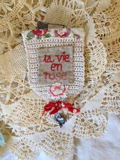 Constanza Silva - OOAK Handstitched and Embroidered La Vie en Rose by PeregrineBlue