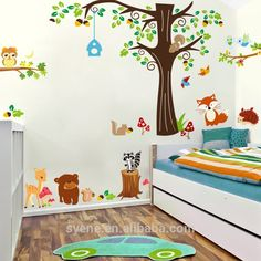 Oversize Jungle Animals Tree Monkey Owl Removable Wall Decal Stickers Nursery Room Decor