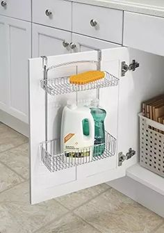 Panier de rangement de meuble de cuisine, mDesign, pour papier aluminium, éponges, fournitures de nettoyage - 2 compartiments, Chrome