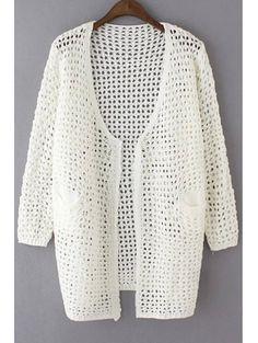 Collarless Long Sleeve Loose Hollow Out Cardigan #womensfashion #pinterestfashion #buy #fun#fashion