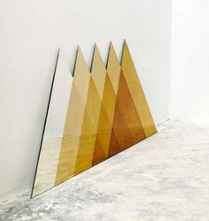 Transcience Mirror (Triangles) by David Derksen Design Triangles, Triangle Art, Triangle Mirror, Bermuda Triangle, Tip Top, Old Mirrors, Mirror Mirror, Shape And Form, Brass Color