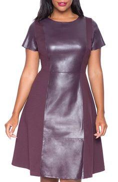 Plus Size Faux Leather & Ponte Dress