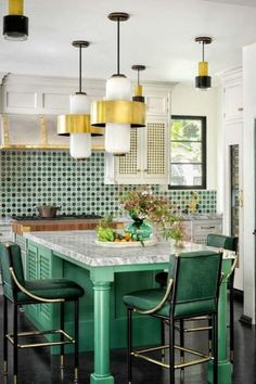 Green accents (kitchen chairs, custom cabinetry, and Moroccan tile) in designer Martyn Lawrence Bullard& kitchen pick up the colors of the leafy garden just beyond the glass doors. Modern Kitchen Lighting, Kitchen Lighting Fixtures, Dining Room Lighting, Light Fixtures, Modern Lamps, Kitchen Chairs, Kitchen Tiles, Kitchen Decor, Dining Chairs