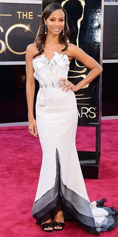 Zoe Saldana at the 2013 Oscars (via chicityfashion.com)
