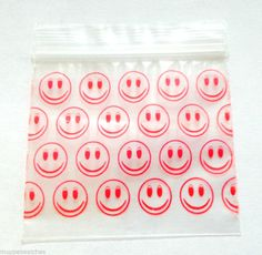 1000 x BAGGIES  SMILEY FACES  - 5cm x 5cm Resealable Plastic Poly Grip Zip Bags