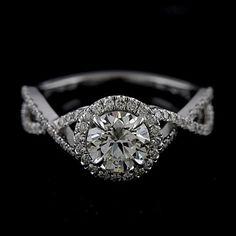 Infinity Setting Engagement Ring | Diamond Pave Set Infinity Halo Platinum 950 Engagement Ring Mounting