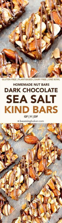 Homemade Dark Chocolate Sea Salt KIND Nut Bars (V GF DF): a protein-rich recipe for homemade KIND bars drizzled in dark chocolate and sprinkled with sea salt. Vegan Sweets, Vegan Snacks, Healthy Snacks, Snack Recipes, Cooking Recipes, Healthy Recipes, Vegetarian Recipes, Healthy Eating, Dessert Sans Gluten