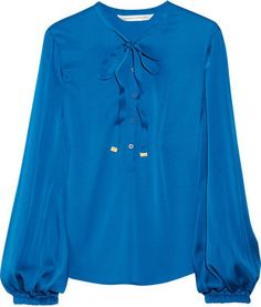 e8e83fd0 Diane von Furstenberg Whitman stretch-silk blouse - ShopStyle Longsleeve