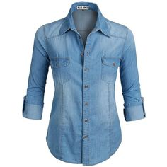 Ollie Arnes Women's Plus Size Chambray Denim Button Up Shirt (87 PEN) ❤ liked on Polyvore featuring tops, button-down shirts, denim button down shirt, denim shirts, blue denim shirt and blue plus size tops