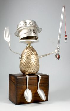 "https://flic.kr/p/85RCM4 | Rod - 2 Found Object Robot Assemblage Sculpture By Brian Marshall | Rod is a retired Microsoft executive that got in on the ground floor. Now he is a world famous fly fishing expert that travels the globe in search of the perfect fishing spot. You can see him on ""Fish with Grampy"" every Sunday at 4pm on the Geezer channel.  Robot sculpture assembled from found objects by Brian Marshall - Wilmington, DE.  Items included in my sculptures vary from vintage h..."