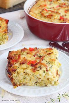 One mixing bowl and one casserole are needed to make this cheesy zucchini, bacon and rice casserole. Make it ahead of time and bake it just before dinner.
