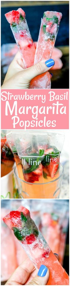 Strawberry Basil Margarita Popsicles are not only boozy and delicious, but they are simple to make! Everyone is going to be begging for this alcoholic popsicle this summer! Yummy Drinks, Delicious Desserts, Dessert Recipes, Frozen Desserts, Frozen Treats, Margarita Recipes, Summer Treats, Summer Food, Cupcakes