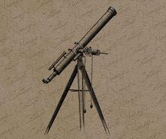 Antique Telescope Clip Art Illustration Vintage by nannyscottage, $2.00