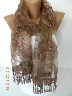 Brown ScarfLace scarf women scarves   fashion scarf  by MebaDesign
