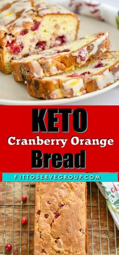 keto cranberry orange bread-This recipe makes an easy low carb cranberry quick bread that is bursting with whole cranberries and uses orange zest and extract for a delicious treat. It also features a tangy orange icing that takes it over the top. Cranberry Quick Bread, Cranberry Orange Bread, Orange Zest, Keto Cranberry Recipes, Keto Foods, Keto Snacks, Keto Diet List, Starting Keto Diet, Ketogenic Diet
