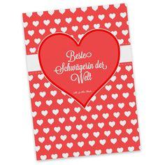 Postkarte Herz Geschenk Beste Schwägerin der Welt aus Karton 300 Gramm  weiß - Das Original von Mr. & Mrs. Panda.  Diese wunderschöne Postkarte aus edlem und hochwertigem 300 Gramm Papier wurde matt glänzend bedruckt und wirkt dadurch sehr edel. Natürlich ist sie auch als Geschenkkarte oder Einladungskarte problemlos zu verwenden. Jede unserer Postkarten wird von uns per hand entworfen, gefertigt, verpackt und verschickt.    Über unser Motiv Herz Geschenk  Das Motiv Herz Geschenk ist ein…